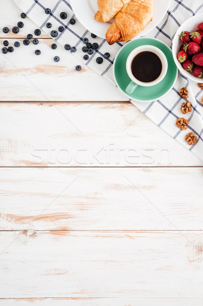 клубника черника орехи круассаны чашку кофе Сток-фото © deandrobot