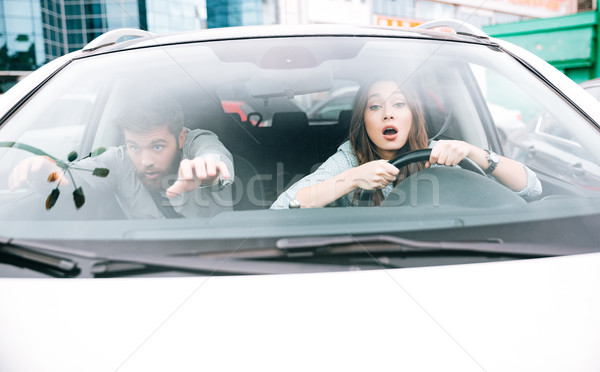 Beauty couple in crash Stock photo © deandrobot