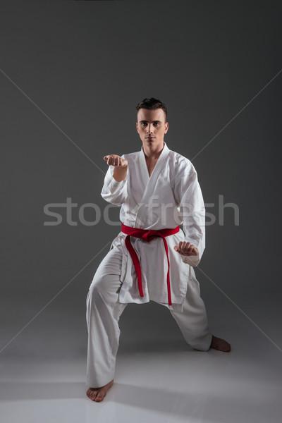 Jóképű sportoló kimonó gyakorlat karate kép Stock fotó © deandrobot
