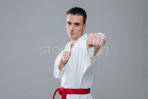 Gorgeous sportsman dressed in kimono practice in karate Stock photo © deandrobot