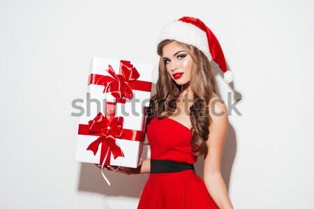 ストックフォト: 幸せ · 若い女性 · サンタクロース · 衣装 · ギフトボックス · 肖像