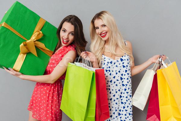 Uśmiechnięty dwa damska znajomych stwarzające Zdjęcia stock © deandrobot