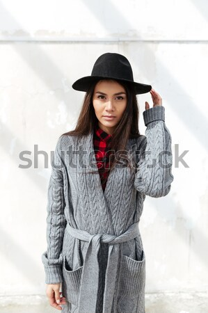 Vertical image of walking woman Stock photo © deandrobot