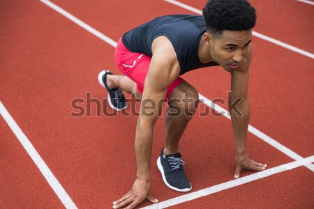 Portrait of a young muscular afro american sportsman Stock photo © deandrobot