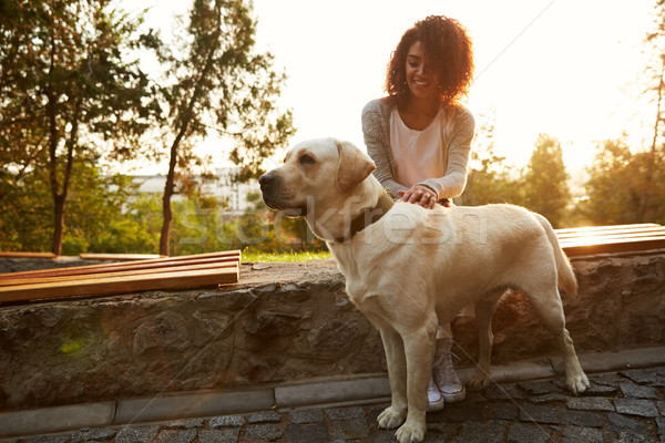 Full-length shot of pretty white dog with owner in park walking Stock photo © deandrobot