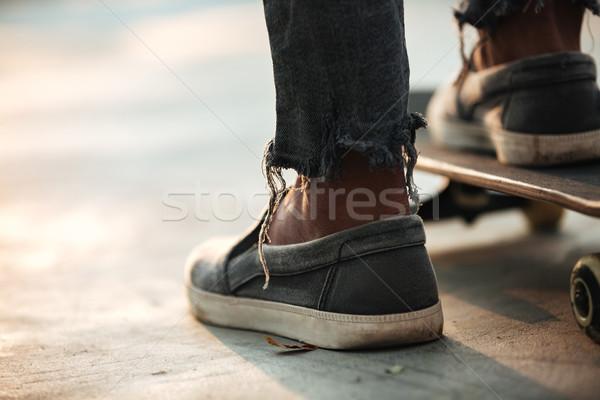 Közelkép láb áll beton férfi város Stock fotó © deandrobot