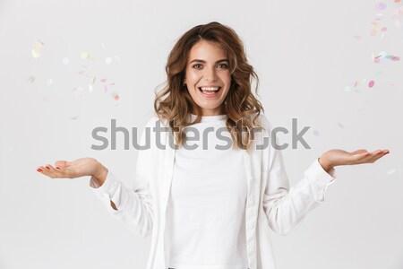 Ritratto confusi frustrato ragazza maglione punta Foto d'archivio © deandrobot
