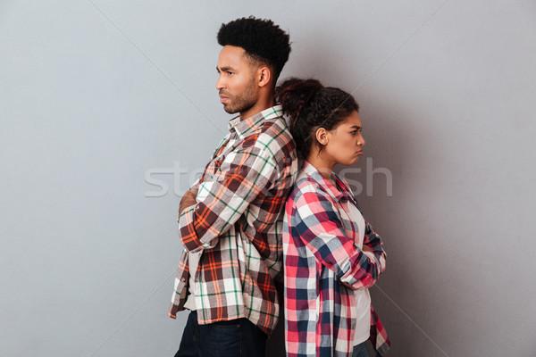 Portret zły młodych Afryki para argument Zdjęcia stock © deandrobot