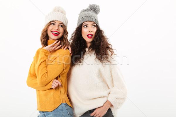 Due sorridere ragazze piedi insieme Foto d'archivio © deandrobot