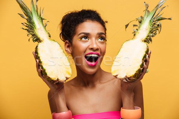 éhes nő színes smink néz tart Stock fotó © deandrobot