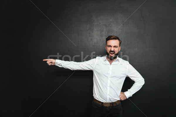 Picture of angry male employer screaming in outrage and pointing Stock photo © deandrobot