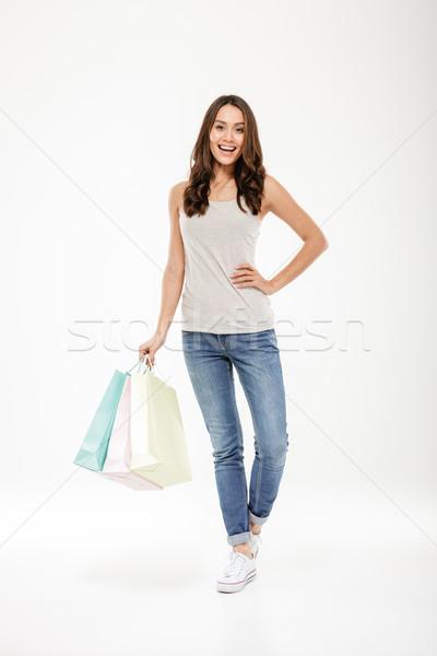 Foto blij vrouw tevredenheid Stockfoto © deandrobot
