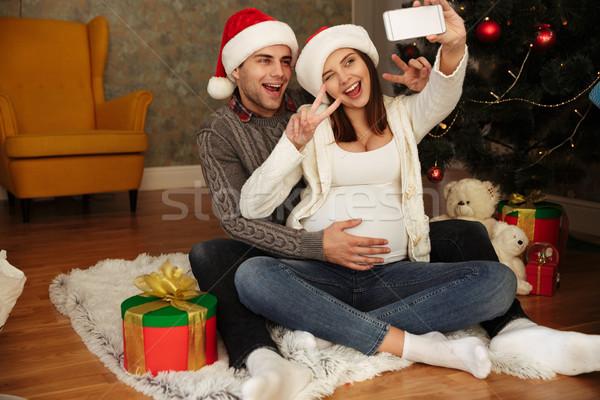 Foto stock: Alegre · bastante · mujer · embarazada · marido · Navidad