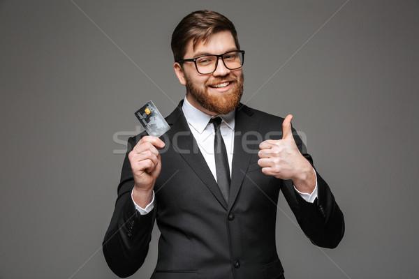 ストックフォト: 肖像 · 幸せ · 小さな · ビジネスマン · クレジットカード