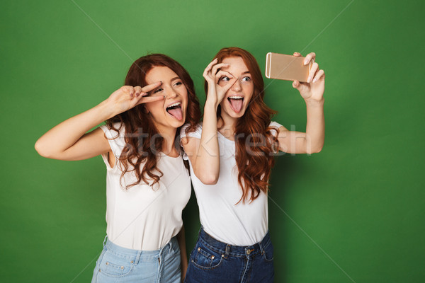 Two cheerful young redhead girls taking a selfie Stock photo © deandrobot
