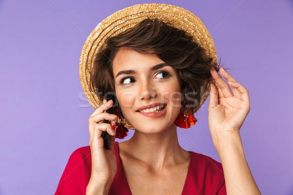 Glimlachend mooie brunette vrouw jurk strohoed Stockfoto © deandrobot