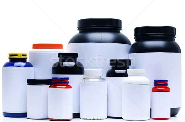 Sport Nutrition Supplement containers isolated on white Stock photo © deandrobot