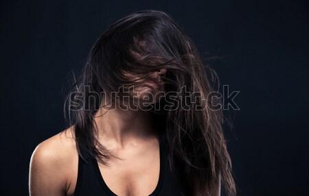 портрет исчерпанный женщину черный девушки Сток-фото © deandrobot