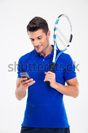 Portré mosolyog teniszező mutat hüvelykujj felfelé Stock fotó © deandrobot