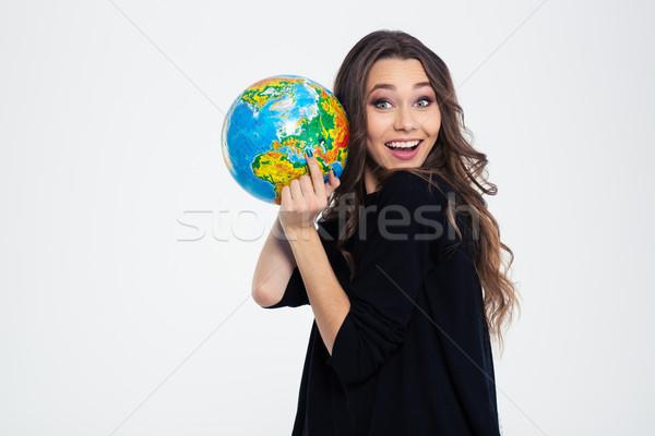 Сток-фото: женщину · мира · глядя · камеры