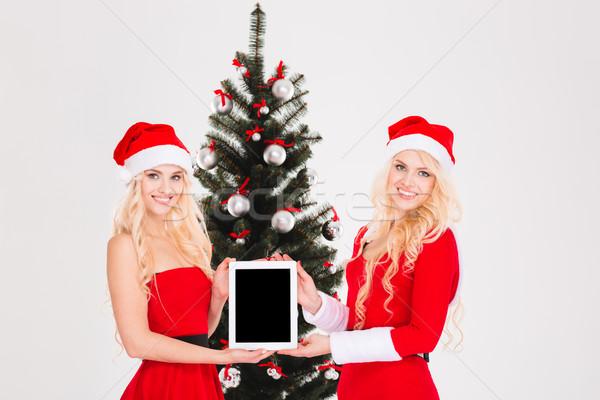 Stok fotoğraf: Iki · dizüstü · bilgisayar · ekran · noel · ağacı