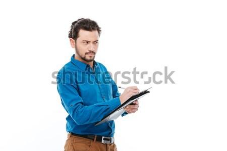 бизнесмен Дать отмечает буфер обмена молодые изолированный Сток-фото © deandrobot