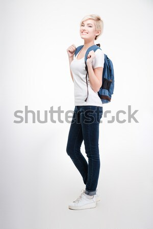 Female student with backpack Stock photo © deandrobot