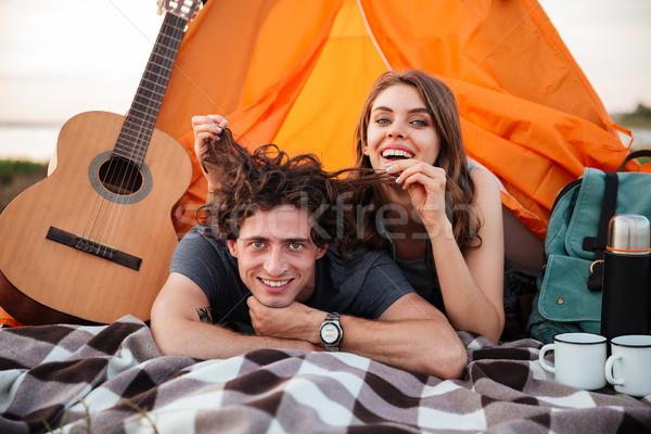 Foto stock: Jovem · feliz · sorridente · casal · amor