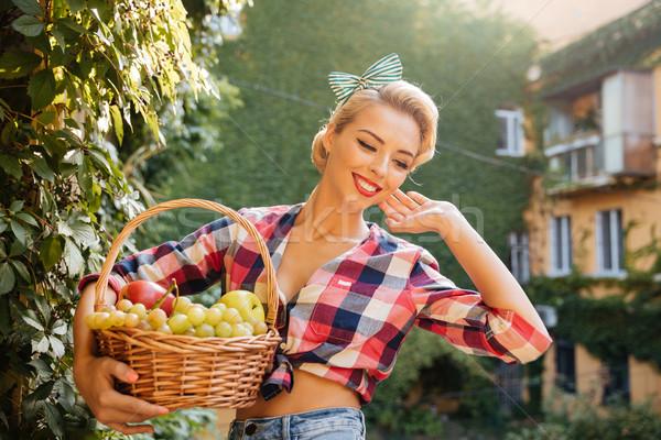 Happy beautiful pin up girl holding basket of fresh fruits Stock photo © deandrobot