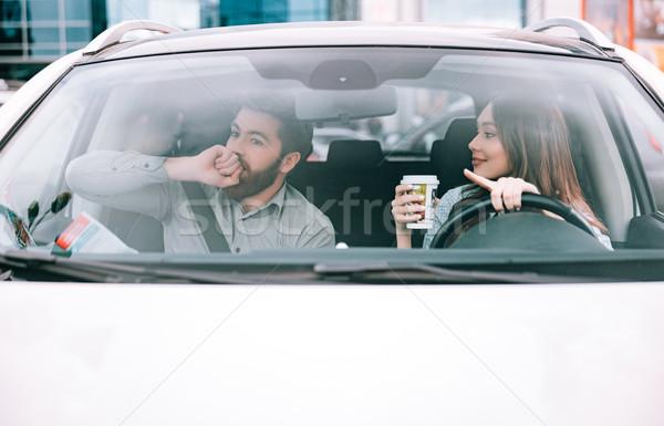 ストックフォト: フロント · 表示 · カップル · 車 · 少女 · ホイール
