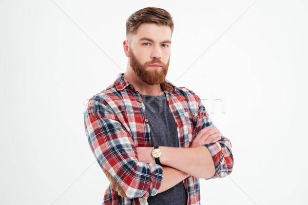 Tevreden bebaarde man shirt armen Stockfoto © deandrobot