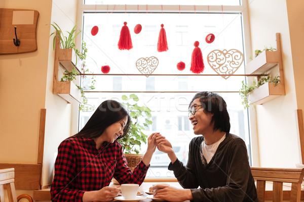 Stockfoto: Glimlachend · asian · jonge · liefhebbend · paar · vergadering
