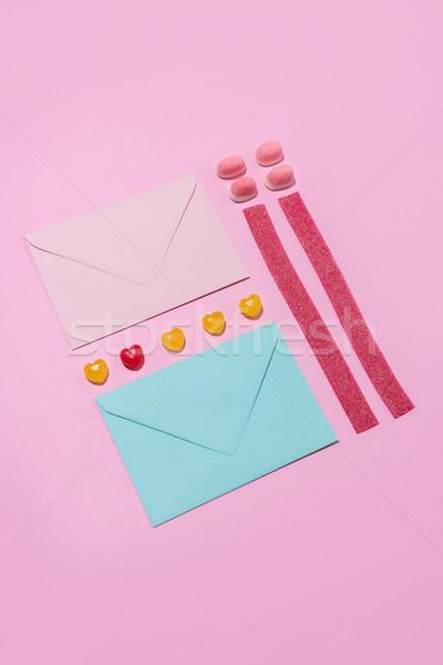 Cukorkák csetepaté üres papír boríték kép zselé Stock fotó © deandrobot