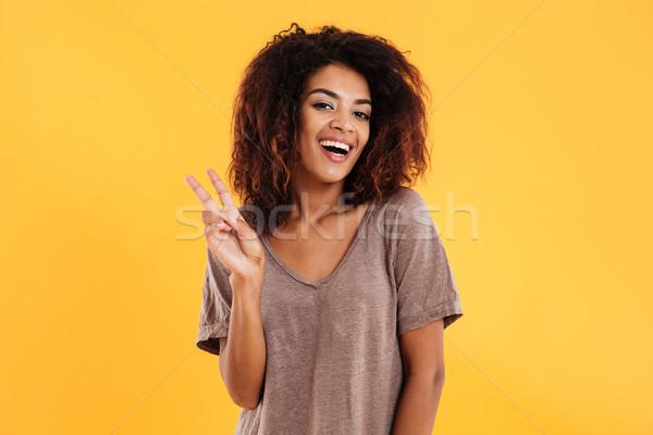 Afrika kadın barış imzalamak Stok fotoğraf © deandrobot