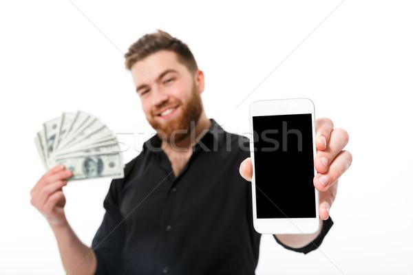 Tevreden bebaarde zakenman shirt geld Stockfoto © deandrobot