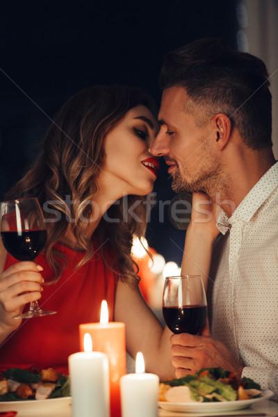 Сток-фото: молодые · Lady · поцелуй · великолепный · человека · романтические