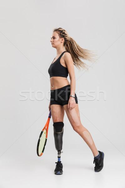 Prachtig jonge gehandicapten foto tennisspeler Stockfoto © deandrobot