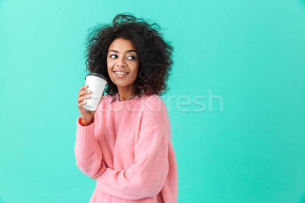 Portrait femme 20s afro coiffure Photo stock © deandrobot