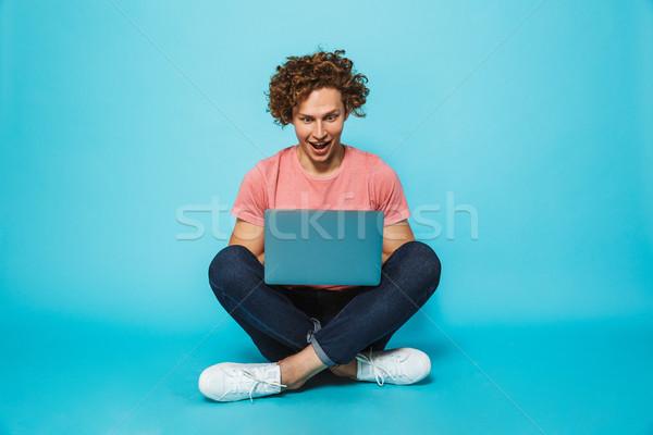 肖像 ヒップスター 男 20歳代 ブラウン 巻き毛 ストックフォト © deandrobot