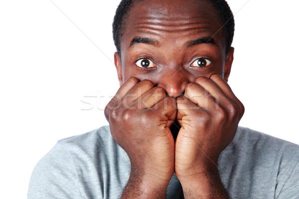 Közelkép portré afrikai férfi fehér arc Stock fotó © deandrobot