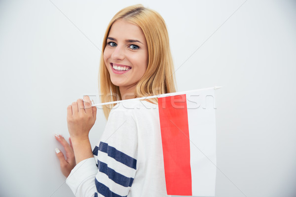 Woman holding Polish flag  Stock photo © deandrobot