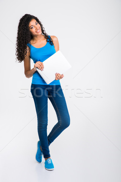 Happy afro american woman holding laptop Stock photo © deandrobot