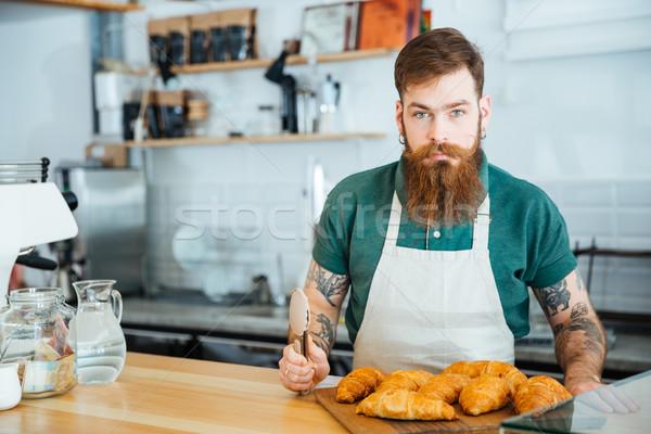 Férfi barista szakáll tetoválás áll kávé Stock fotó © deandrobot
