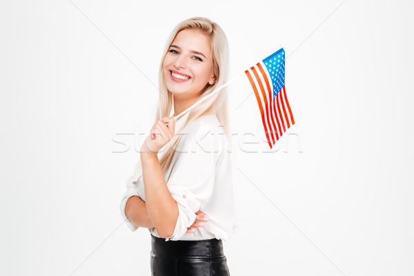 Mutlu genç işkadını bayrak Amerika portre Stok fotoğraf © deandrobot