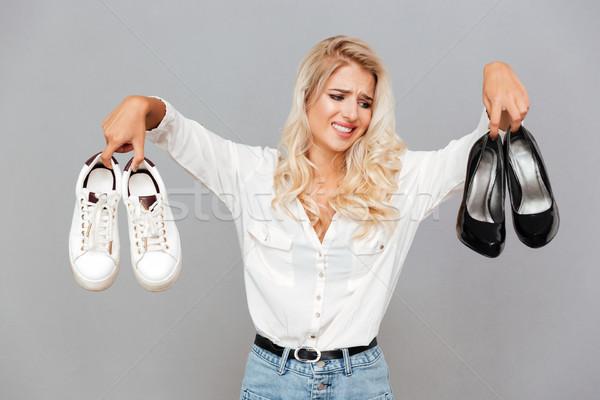 путать обувь серый женщину Сток-фото © deandrobot