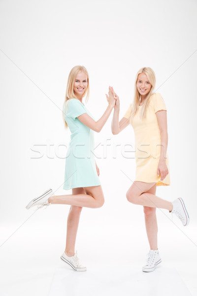 Picture of two playful happy ladies Stock photo © deandrobot