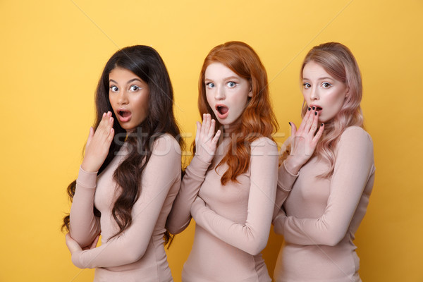 Three suprised ladies with crossed arms posing in studio Stock photo © deandrobot