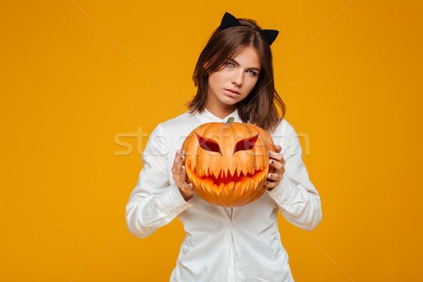 Grave Crazy cat halloween costume Foto d'archivio © deandrobot