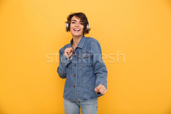 Portret gelukkig positief meisje denim jas Stockfoto © deandrobot
