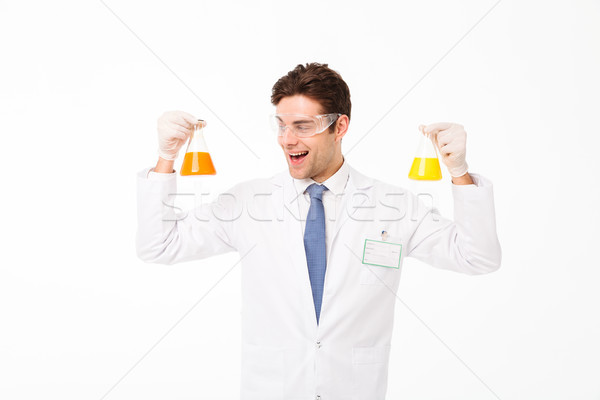 Stockfoto: Portret · opgewonden · jonge · mannelijke · wetenschapper · uniform